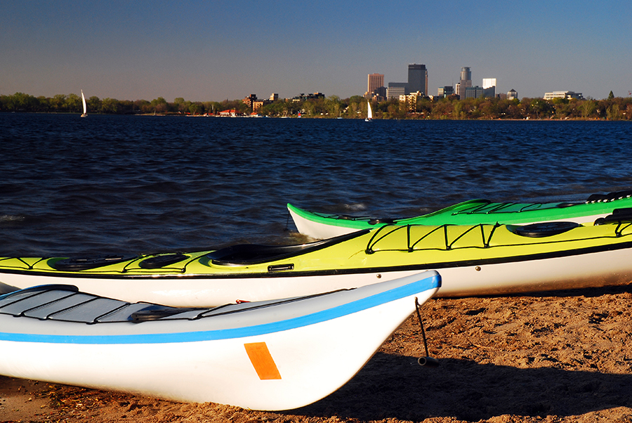 Kayaks Await on Lake Calhoun with the Minneapolis Skyline