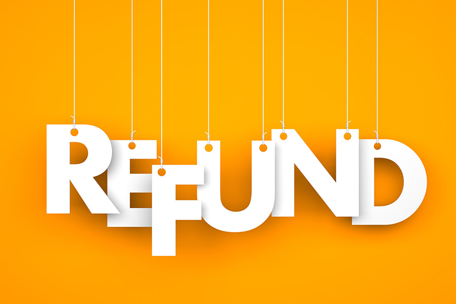 refund bright orange background, text refund in foreground
