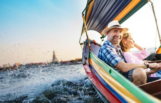 Couple on a boat ride in Bangkok