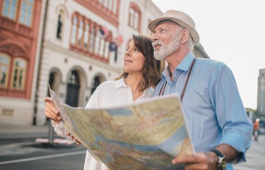 Traveling Couple with a map