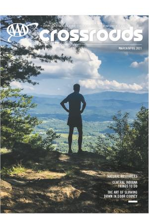 Crossroads Magazine - March April Cover Photo, Person looking at Indiana scenery