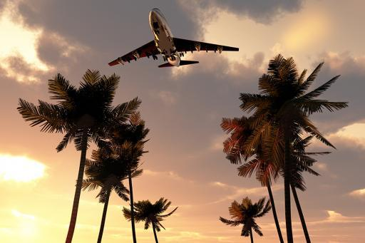 Travel vacation image, palm trees with plane flying overhead.