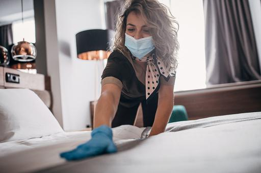 hotel cleaning service with mask