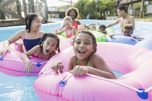 Kids playing at waterpark