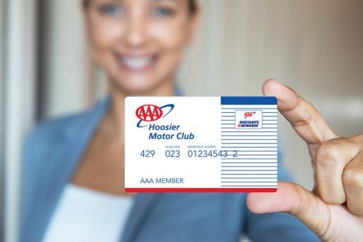 AAA member  holding a AAA Hoosier membership card.