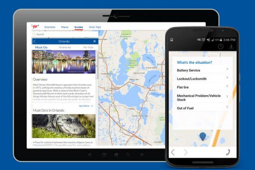 AAA Mobile App map view display image